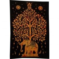 Tenture arbre de vie et éléphant orange