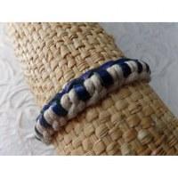 Bracelet Gili cuir bleu coton écru