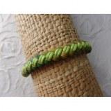 Bracelet Gili cuir vert coton vert fluo