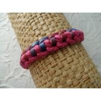 Bracelet Gili cuir rouge/bleu coton rose