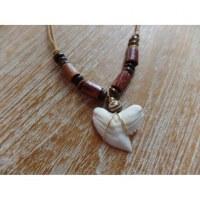 Collier perles en bois marron medewi