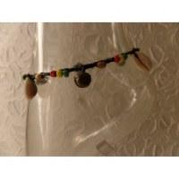 Bracelet cheville rasta grelots et coquillages