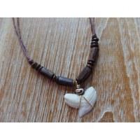 Collier perles en bois marron foncé medewi