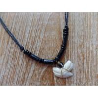 Collier perles noires en bois medewi