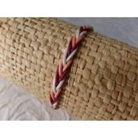 Bracelet tali 1 fil saumon/blanc/bordeaux modèle 5