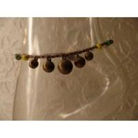 Bracelet cheville clochettes beige