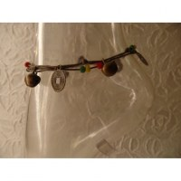 Bracelet de cheville rasta/gris sapèques