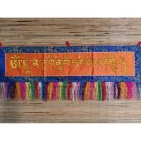 Bannière tibétaine orange mantra Guru Rinpoché