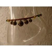 Bracelet cheville clochettes marron