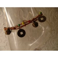 Bracelet de cheville rasta/chamois sapèques