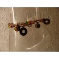 Bracelet de cheville rasta/beige sapèques