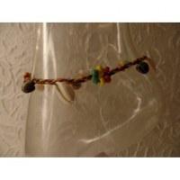 Bracelet cheville shell rasta jaune