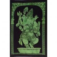 Petite tenture noire/vert Ganesh debout