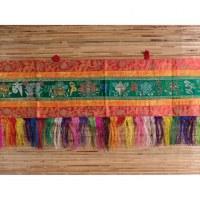 Broderie tibétaine verte Om mani tashi