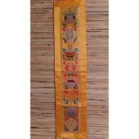 Broderie tibétaine jaune or Astamangala
