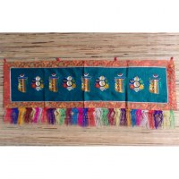 Broderie tibétaine verte kalachakra/lotus