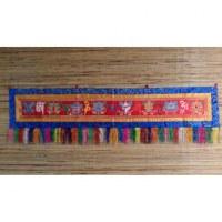 Grande broderie tibétaine rouge Om mani tashi