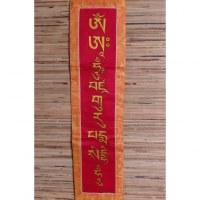 Bannière tibétaine rouge mantra Padmasambhava