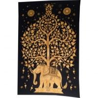 Tenture orange color arbre de vie et éléphant