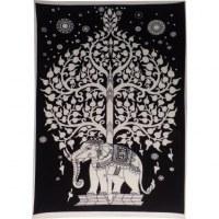 Mini tenture noir et blanc arbre de vie et éléphant