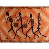Tenture bandhani les 4 papous marcheurs orange