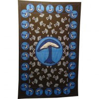 Tenture champignons bleus