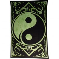 Tenture yin yang noir/vert
