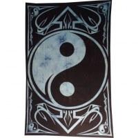 Tenture yin yang noir/bleu