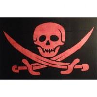 Tenture jolly roger noir/rouge