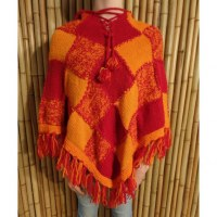 Poncho Tuni orange/rouge