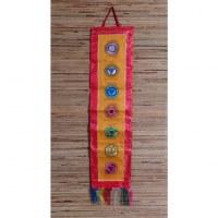 Broderie tibétaine rouge/jaune les 7 chakras