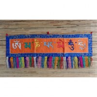 Broderie tibétaine Om mani padme hum fond orange