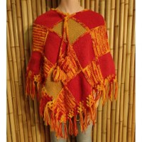 Poncho Sorata beige/rouge/orange/jaune