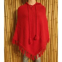 Poncho long Oruro rouge