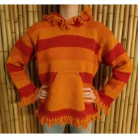 Pull Otaki orange/rouge capuche à pompon