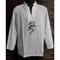 Chemise blanche dragon brodé