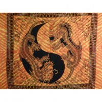 Maxi tenture orange dragons yin yang noirs