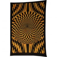 Tenture vision psychédélique orange/noir