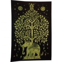 Tenture arbre de vie et éléphant vert