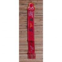 Broderie tibétaine rouge Om mani padme hum