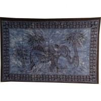 Tenture l'éléphant aux palmiers bleu/noir
