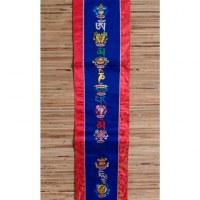 Longue broderie tibétaine bleu/rouge Om mani tashi