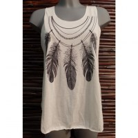 Débardeur collier de plumes noir et blanc
