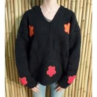 Pull noir Hokio fleurs
