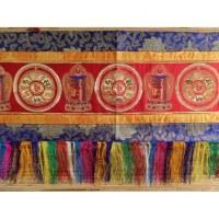 Broderie tibétaine rouge kalachakra/lotus