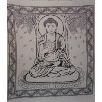 Maxi tenture Bouddha sous l'arbre Bodhi noir et blanc