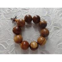 Bracelet tibétain grosses perles bois clair