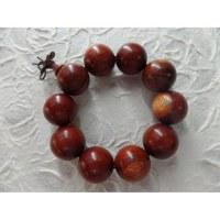 Bracelet tibétain grosses perles en bois rouge