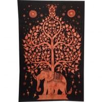 Tenture orange foncé arbre de vie et éléphant