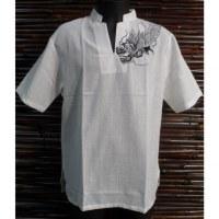 Chemise blanche épaule brodée dragon